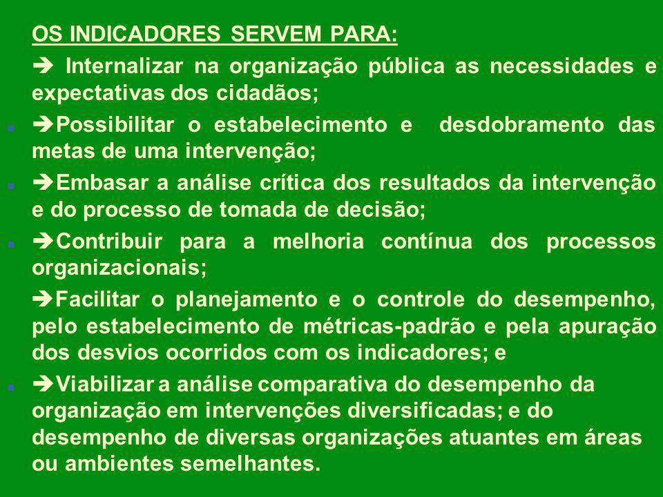 OS INDICADORES SERVEM PARA: Internalizar na organização pública as necessidades e expectativas dos cidadãos; n Possibilitar o estabelecimento e desdob