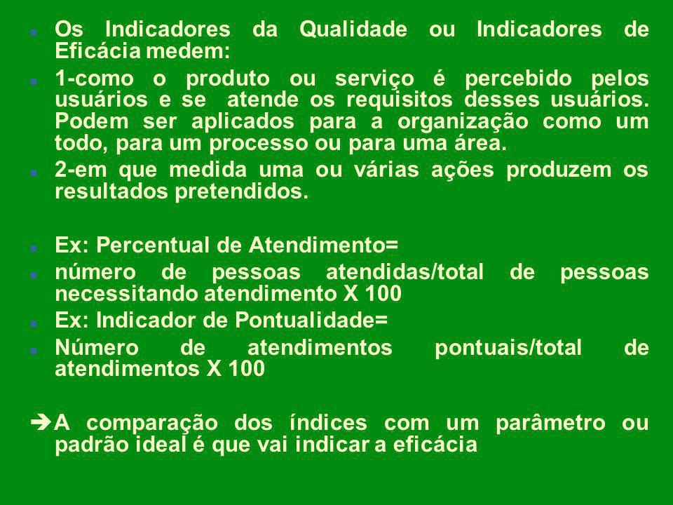 n Os Indicadores da Qualidade ou Indicadores de Eficácia medem: n 1-como o produto ou serviço é percebido pelos usuários e se atende os requisitos des