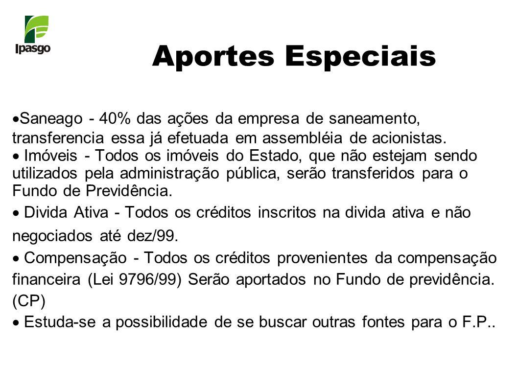 Aportes Especiais Saneago - 40% das ações da empresa de saneamento, transferencia essa já efetuada em assembléia de acionistas.