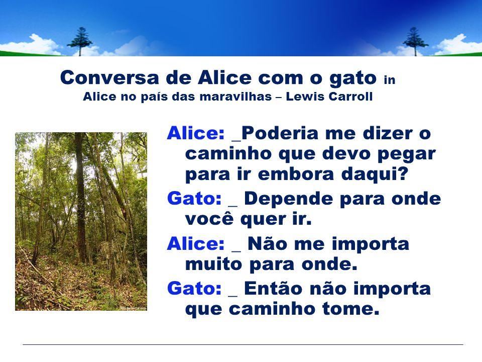 Conversa de Alice com o gato in Alice no país das maravilhas – Lewis Carroll Alice: _Poderia me dizer o caminho que devo pegar para ir embora daqui.