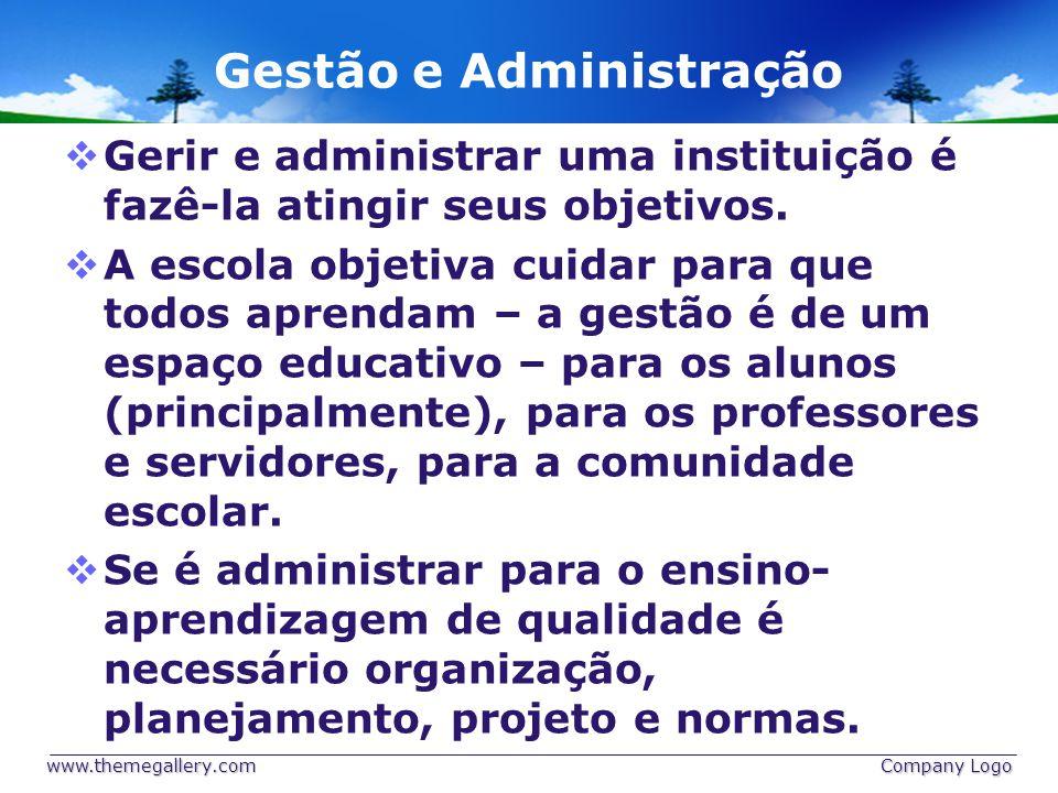 Gestão e Administração Gerir e administrar uma instituição é fazê-la atingir seus objetivos.