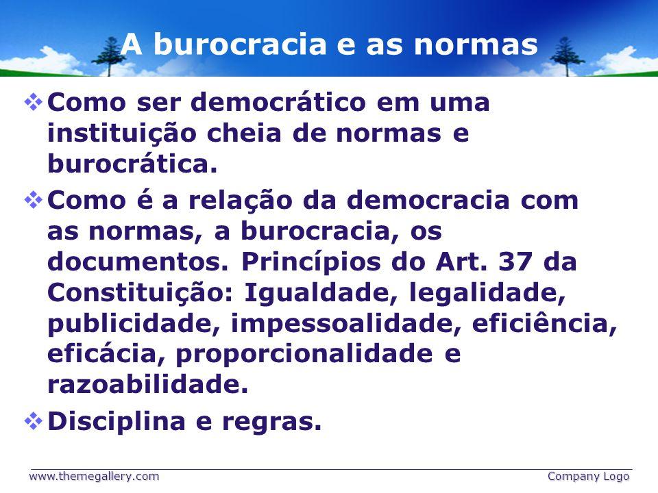 A burocracia e as normas Como ser democrático em uma instituição cheia de normas e burocrática.