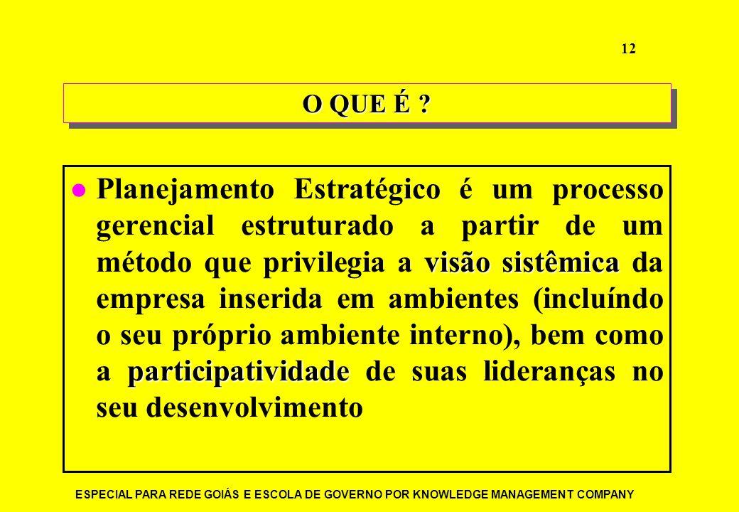 ESPECIAL PARA REDE GOIÁS E ESCOLA DE GOVERNO POR KNOWLEDGE MANAGEMENT COMPANY 12 O QUE É ? visão sistêmica participatividade Planejamento Estratégico