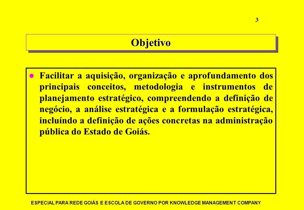 ESPECIAL PARA REDE GOIÁS E ESCOLA DE GOVERNO POR KNOWLEDGE MANAGEMENT COMPANY 3 ObjetivoObjetivo Facilitar a aquisição, organização e aprofundamento d
