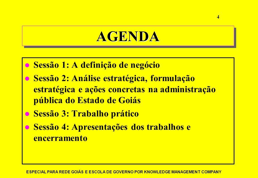 ESPECIAL PARA REDE GOIÁS E ESCOLA DE GOVERNO POR KNOWLEDGE MANAGEMENT COMPANY 4 AGENDAAGENDA Sessão 1: A definição de negócio Sessão 2: Análise estrat