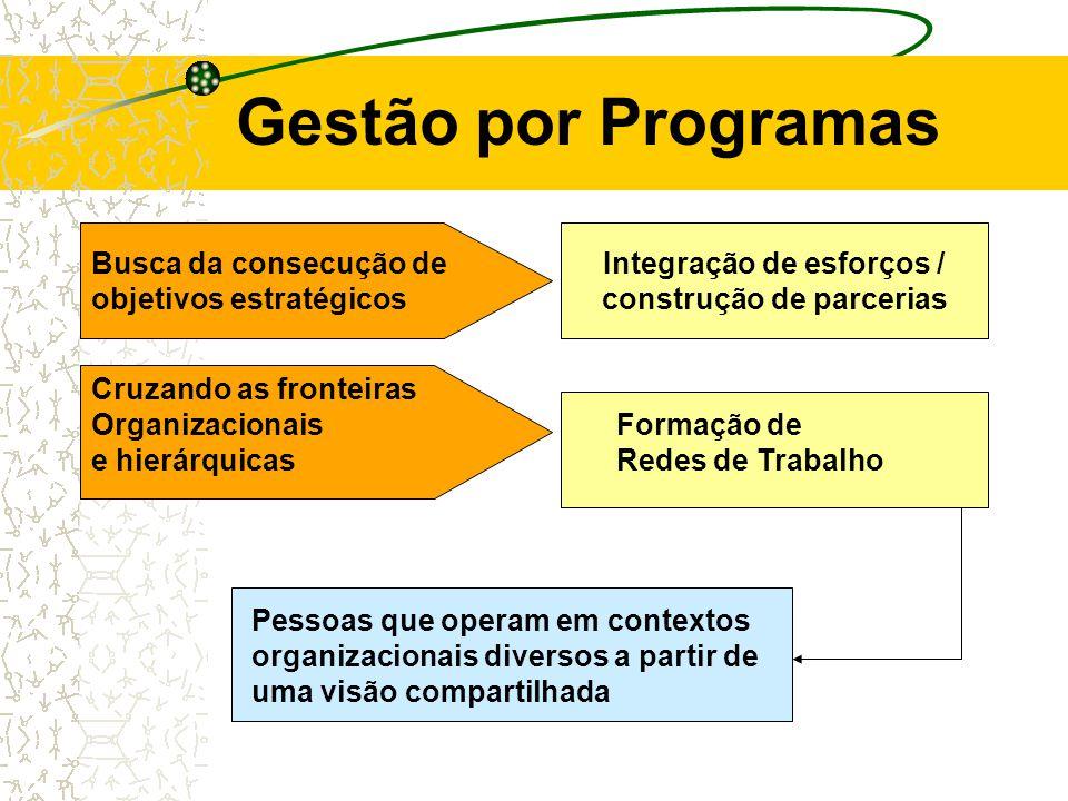 Gestão por Programas Busca da consecução de objetivos estratégicos Integração de esforços / construção de parcerias Pessoas que operam em contextos organizacionais diversos a partir de uma visão compartilhada Cruzando as fronteiras Organizacionais e hierárquicas Formação de Redes de Trabalho