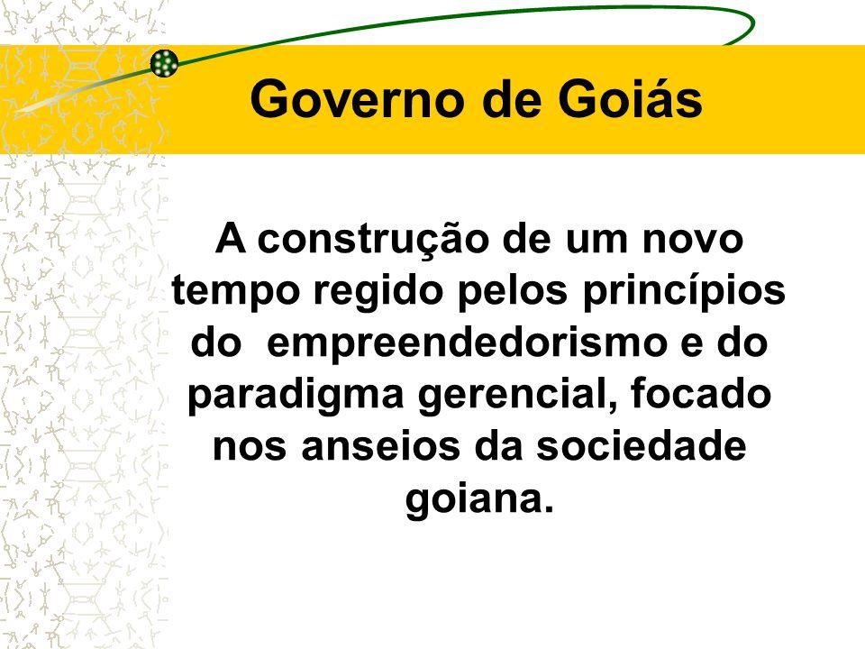 Governo de Goiás A construção de um novo tempo regido pelos princípios do empreendedorismo e do paradigma gerencial, focado nos anseios da sociedade goiana.