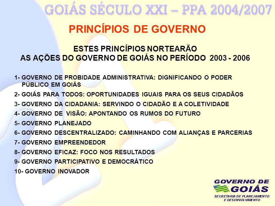 PRINCÍPIOS DE GOVERNO ESTES PRINCÍPIOS NORTEARÃO AS AÇÕES DO GOVERNO DE GOIÁS NO PERÍODO 2003 - 2006 1- GOVERNO DE PROBIDADE ADMINISTRATIVA: DIGNIFICA