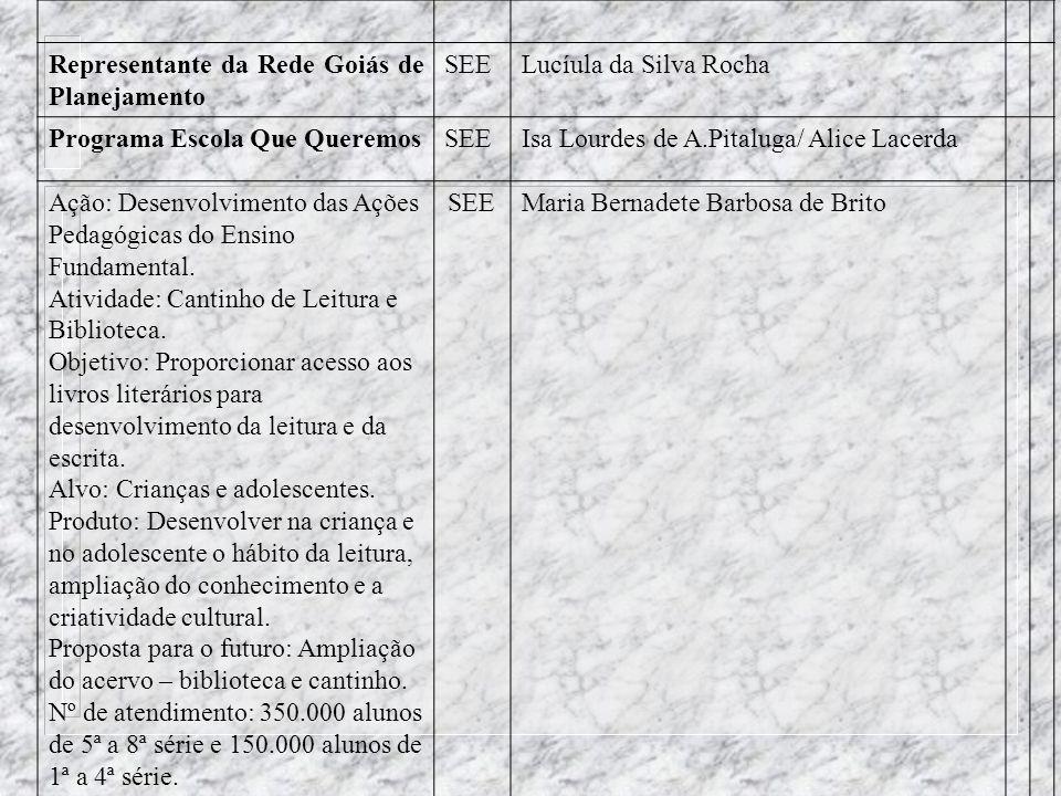 SUPERINTENDÊNCIA DE ENSINO FUNDAMENTAL Representante da Rede Goiás de PlanejamentoSEELucíula da Silva Rocha Permanência e Sucesso do Aluno n a EscolaS