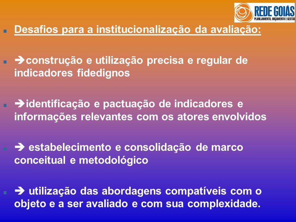 n Desafios para a institucionalização da avaliação: n construção e utilização precisa e regular de indicadores fidedignos n identificação e pactuação