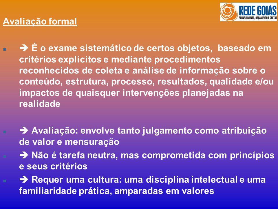 Avaliação formal n É o exame sistemático de certos objetos, baseado em critérios explícitos e mediante procedimentos reconhecidos de coleta e análise
