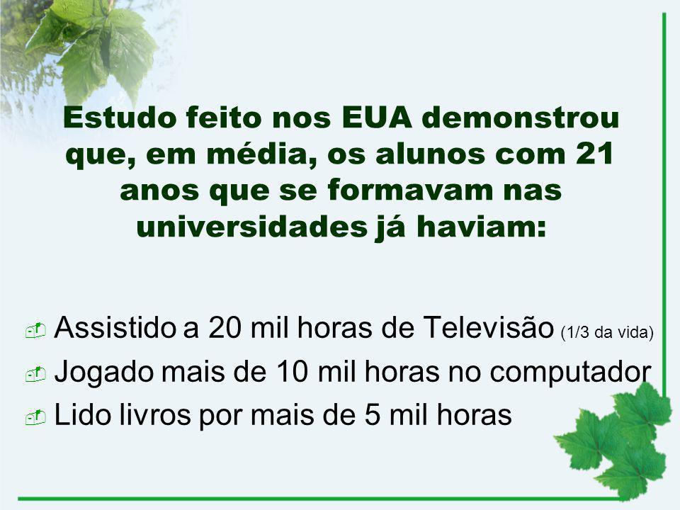 Estudo feito nos EUA demonstrou que, em média, os alunos com 21 anos que se formavam nas universidades já haviam: Assistido a 20 mil horas de Televisã