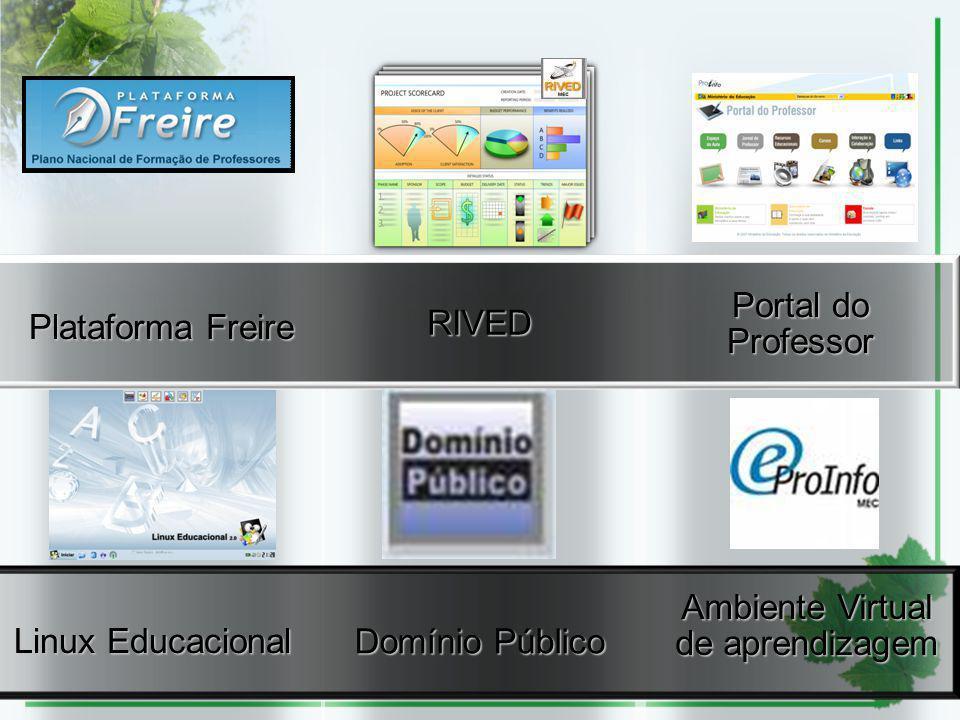 RIVED Portal do Professor Domínio Público Linux Educacional Plataforma Freire Ambiente Virtual de aprendizagem