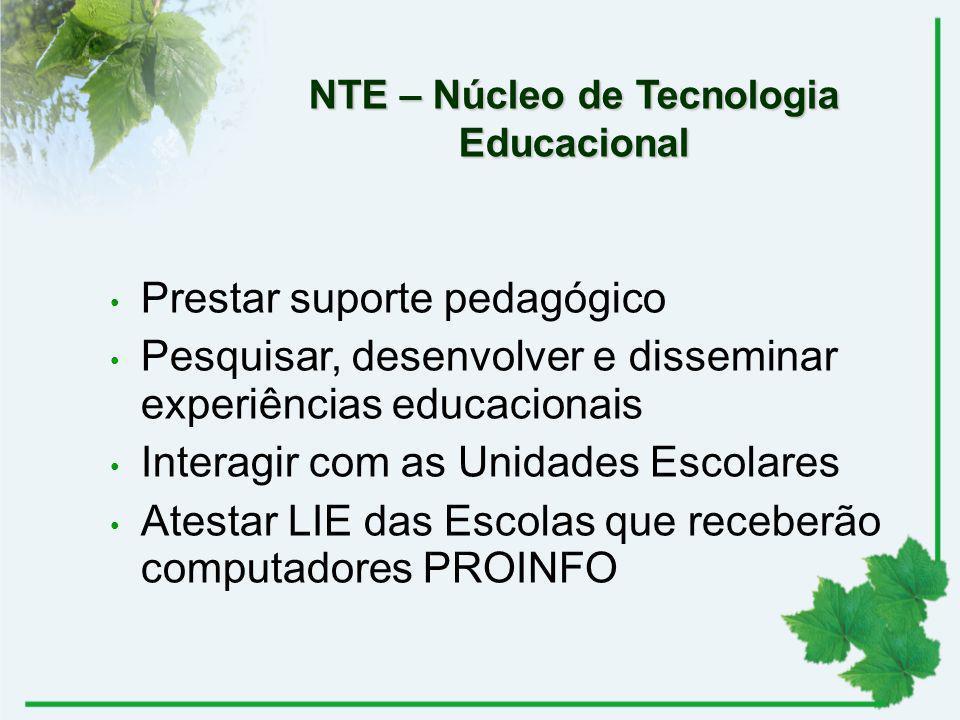 NTE – Núcleo de Tecnologia Educacional Prestar suporte pedagógico Pesquisar, desenvolver e disseminar experiências educacionais Interagir com as Unida