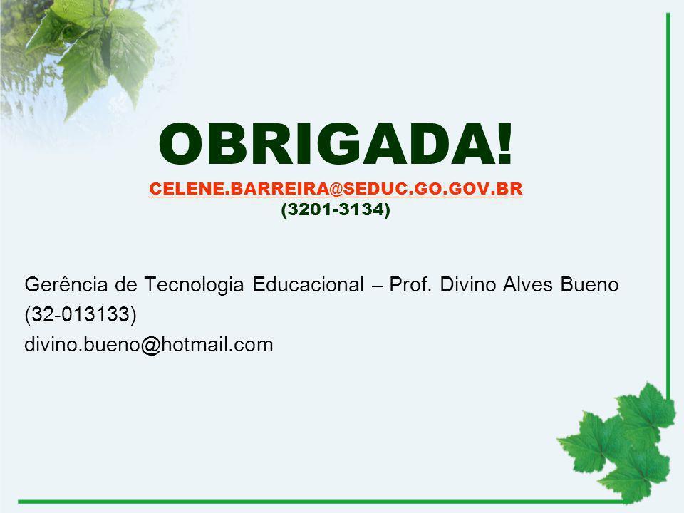 OBRIGADA! CELENE.BARREIRA@SEDUC.GO.GOV.BR (3201-3134) CELENE.BARREIRA@SEDUC.GO.GOV.BR Gerência de Tecnologia Educacional – Prof. Divino Alves Bueno (3