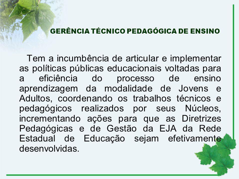 GERÊNCIA TÉCNICO PEDAGÓGICA DE ENSINO Tem a incumbência de articular e implementar as políticas públicas educacionais voltadas para a eficiência do pr