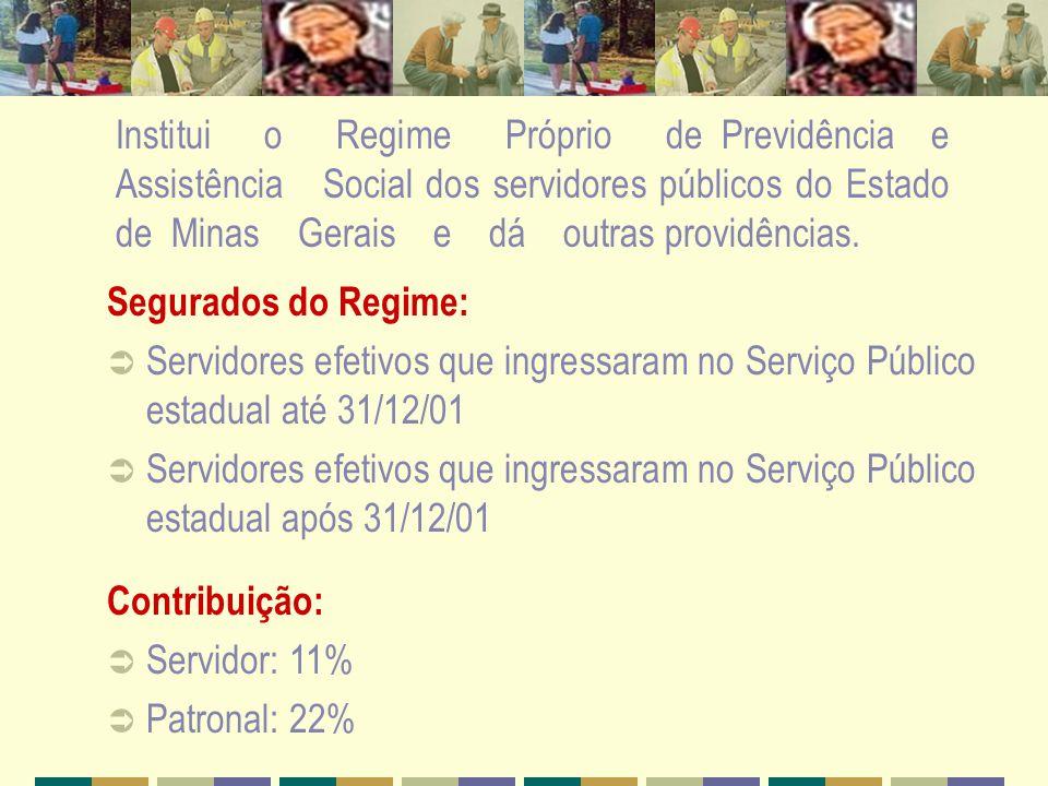 Segurados do Regime: Servidores efetivos que ingressaram no Serviço Público estadual até 31/12/01 Servidores efetivos que ingressaram no Serviço Públi