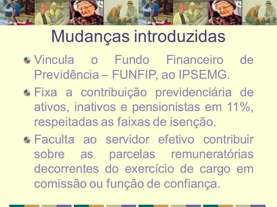 Mudanças introduzidas Vincula o Fundo Financeiro de Previdência – FUNFIP, ao IPSEMG. Fixa a contribuição previdenciária de ativos, inativos e pensioni