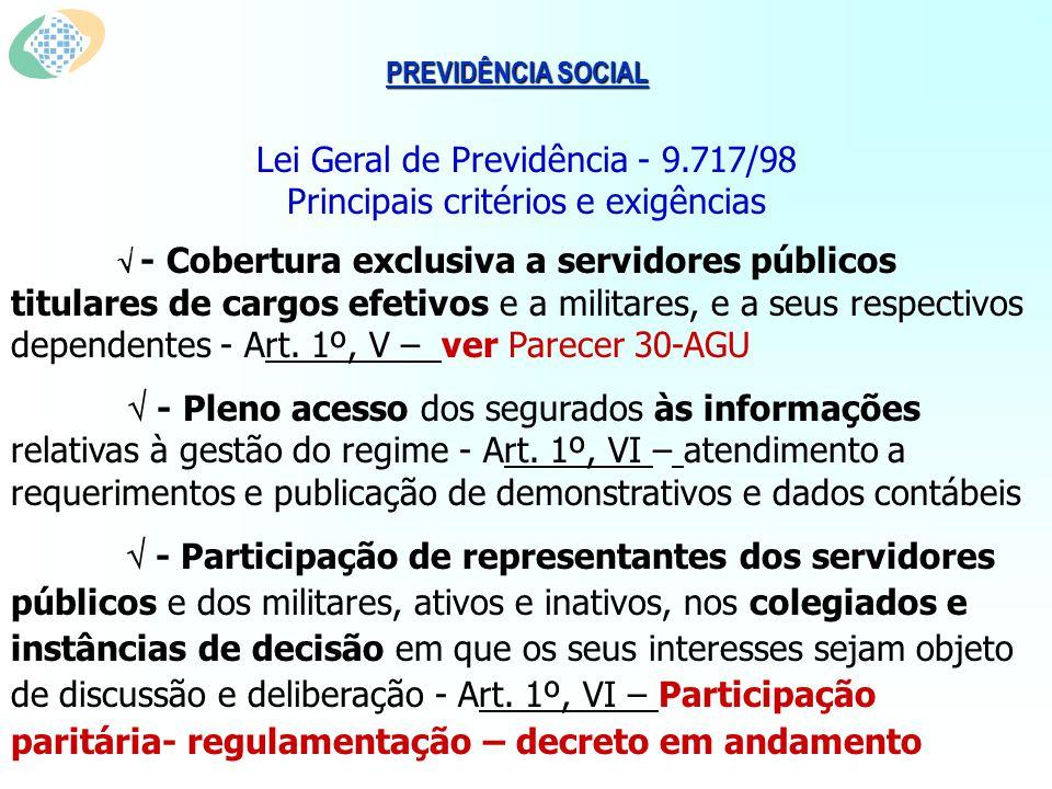 PREVIDÊNCIA SOCIAL Lei Geral de Previdência - 9.717/98 Principais critérios e exigências - Cobertura exclusiva a servidores públicos titulares de cargos efetivos e a militares, e a seus respectivos dependentes - Art.