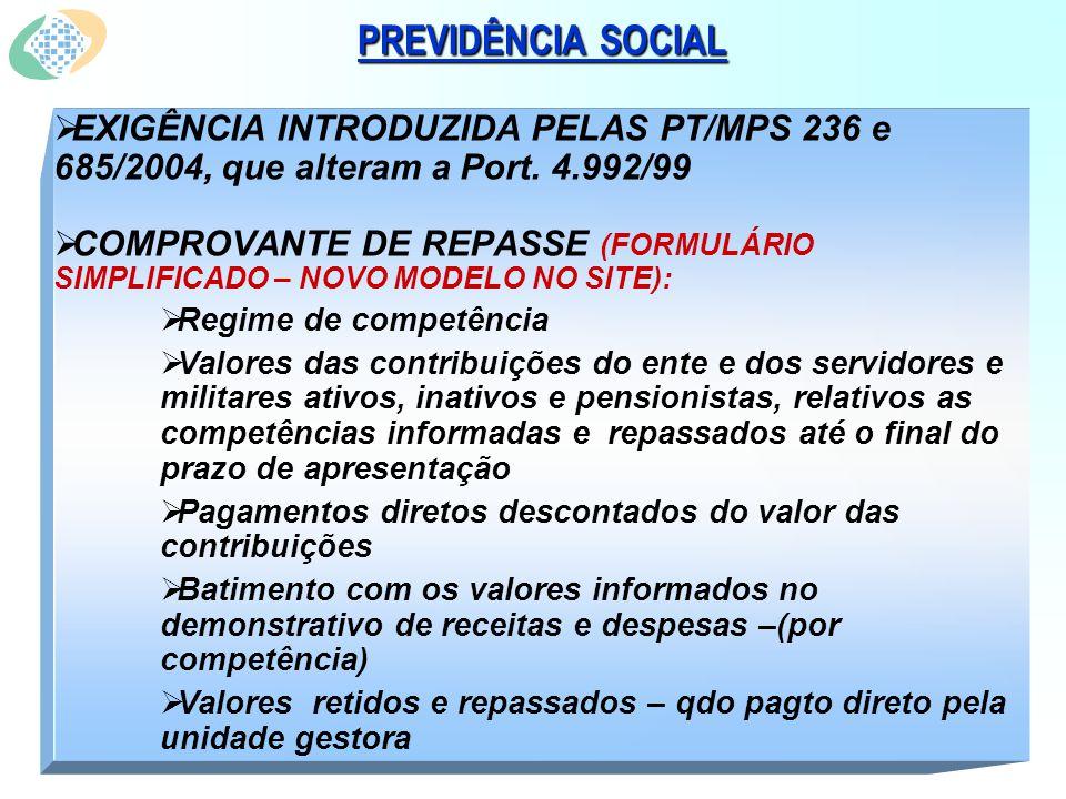 PREVIDÊNCIA SOCIAL EXIGÊNCIA INTRODUZIDA PELAS PT/MPS 236 e 685/2004, que alteram a Port.