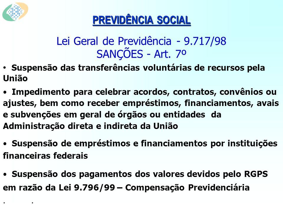 PREVIDÊNCIA SOCIAL Lei Geral de Previdência - 9.717/98 SANÇÕES - Art.
