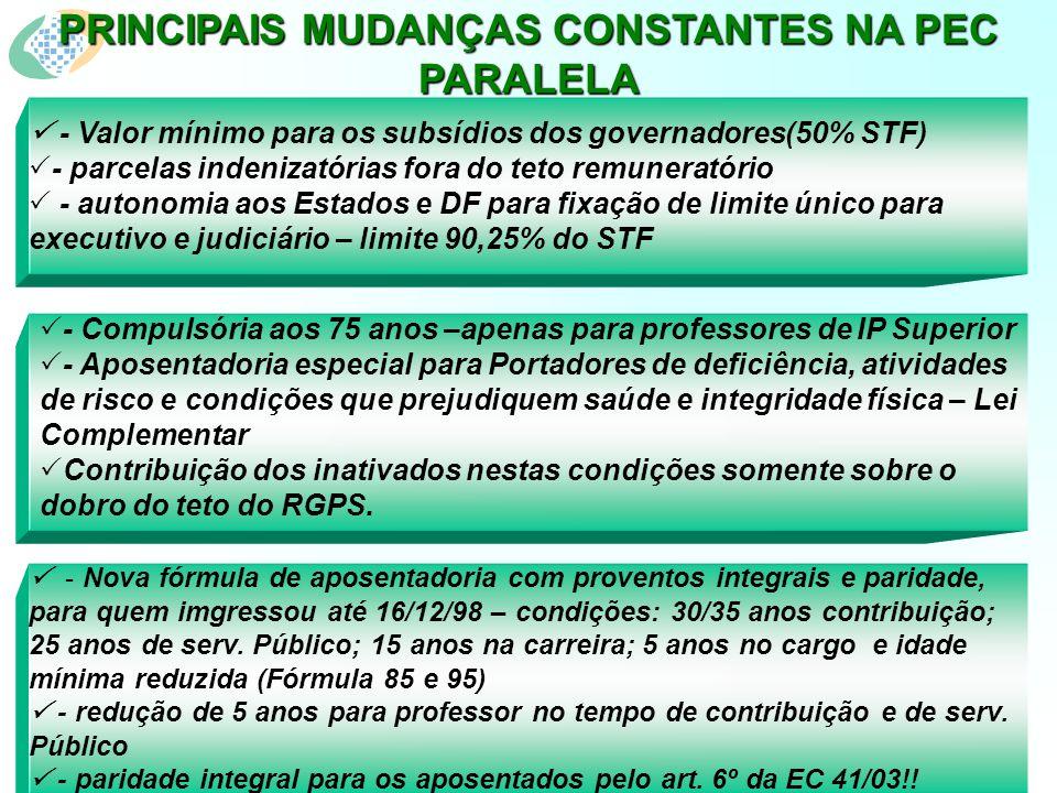 - Nova fórmula de aposentadoria com proventos integrais e paridade, para quem imgressou até 16/12/98 – condições: 30/35 anos contribuição; 25 anos de serv.