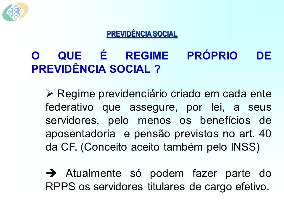 PREVIDÊNCIA SOCIAL CRIAÇÃO DE UM REGIME PRÓPRIO DE PREVIDÊNCIA SOCIAL (Art.
