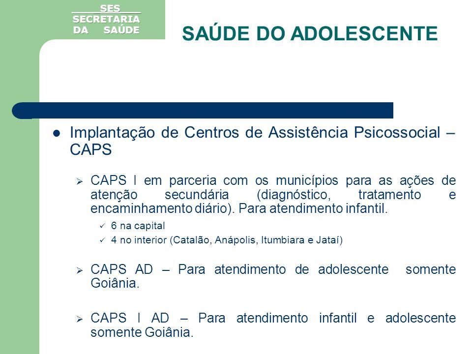 Implantação de Centros de Assistência Psicossocial – CAPS CAPS I em parceria com os municípios para as ações de atenção secundária (diagnóstico, trata