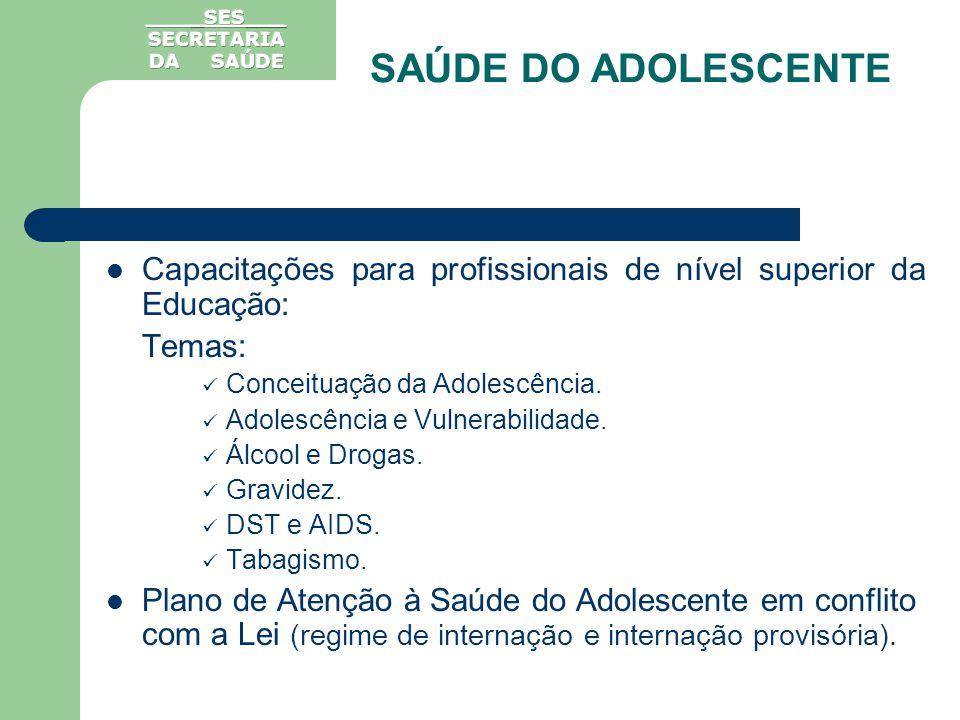 Capacitações para profissionais de nível superior da Educação: Temas: Conceituação da Adolescência. Adolescência e Vulnerabilidade. Álcool e Drogas. G