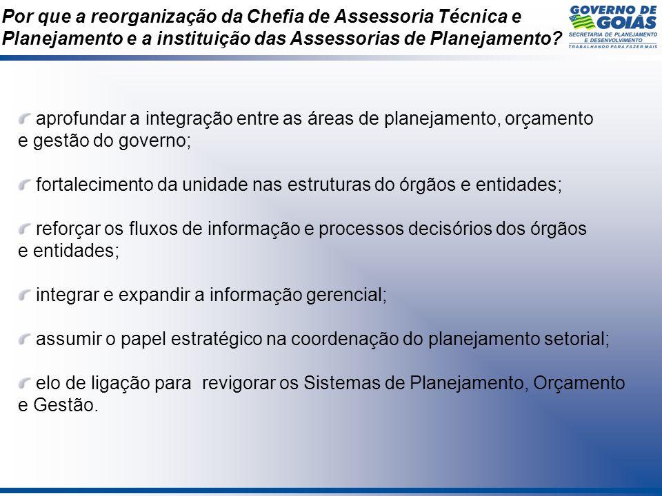 Por que a reorganização da Chefia de Assessoria Técnica e Planejamento e a instituição das Assessorias de Planejamento? aprofundar a integração entre