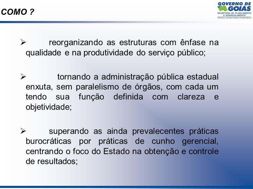 reorganizando as estruturas com ênfase na qualidade e na produtividade do serviço público; tornando a administração pública estadual enxuta, sem paral