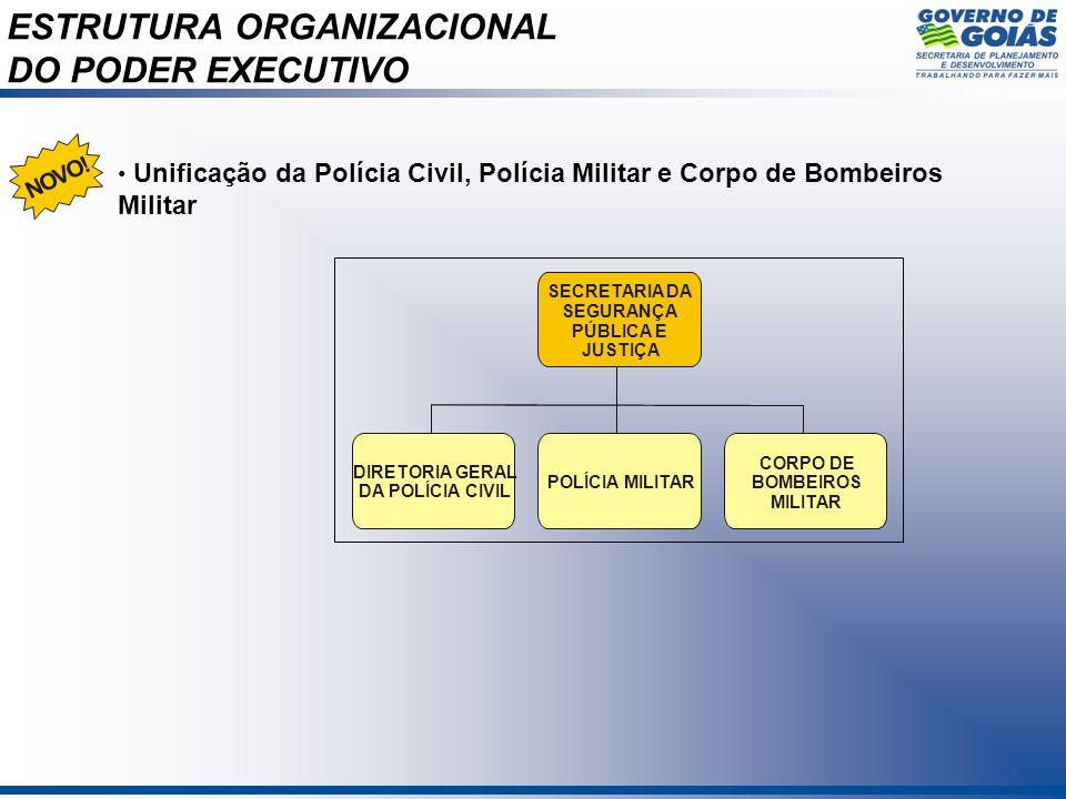ESTRUTURA ORGANIZACIONAL DO PODER EXECUTIVO SECRETARIA DA SEGURANÇA PÚBLICA E JUSTIÇA DIRETORIA GERAL DA POLÍCIA CIVIL POLÍCIA MILITAR CORPO DE BOMBEI