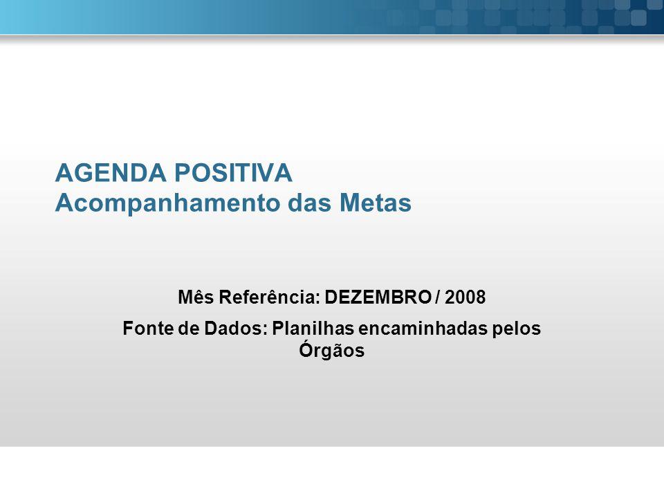 AGENDA POSITIVA Acompanhamento das Metas Mês Referência: DEZEMBRO / 2008 Fonte de Dados: Planilhas encaminhadas pelos Órgãos