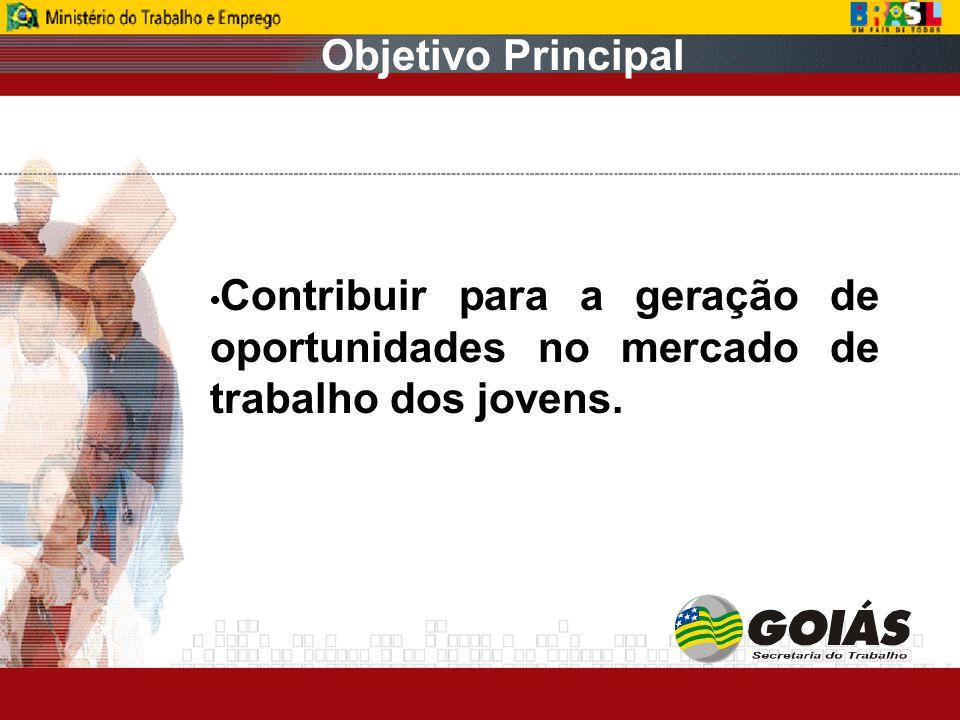 Objetivo Principal Contribuir para a geração de oportunidades no mercado de trabalho dos jovens.