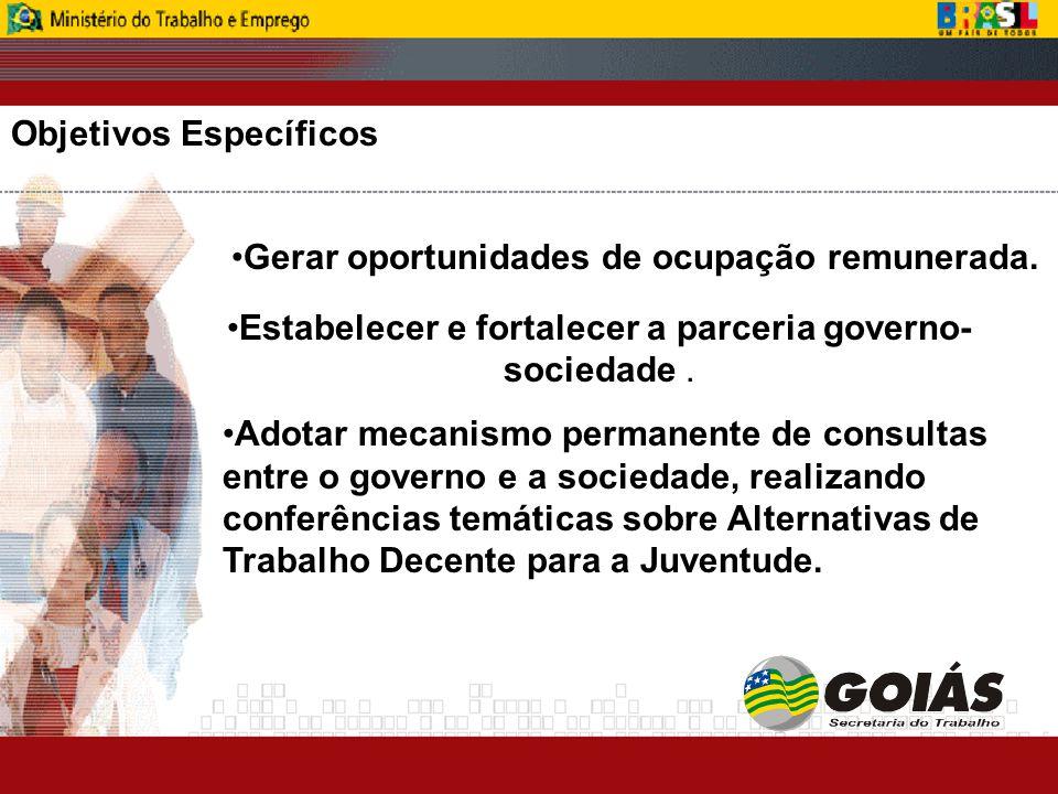 Objetivos Específicos Gerar oportunidades de ocupação remunerada.