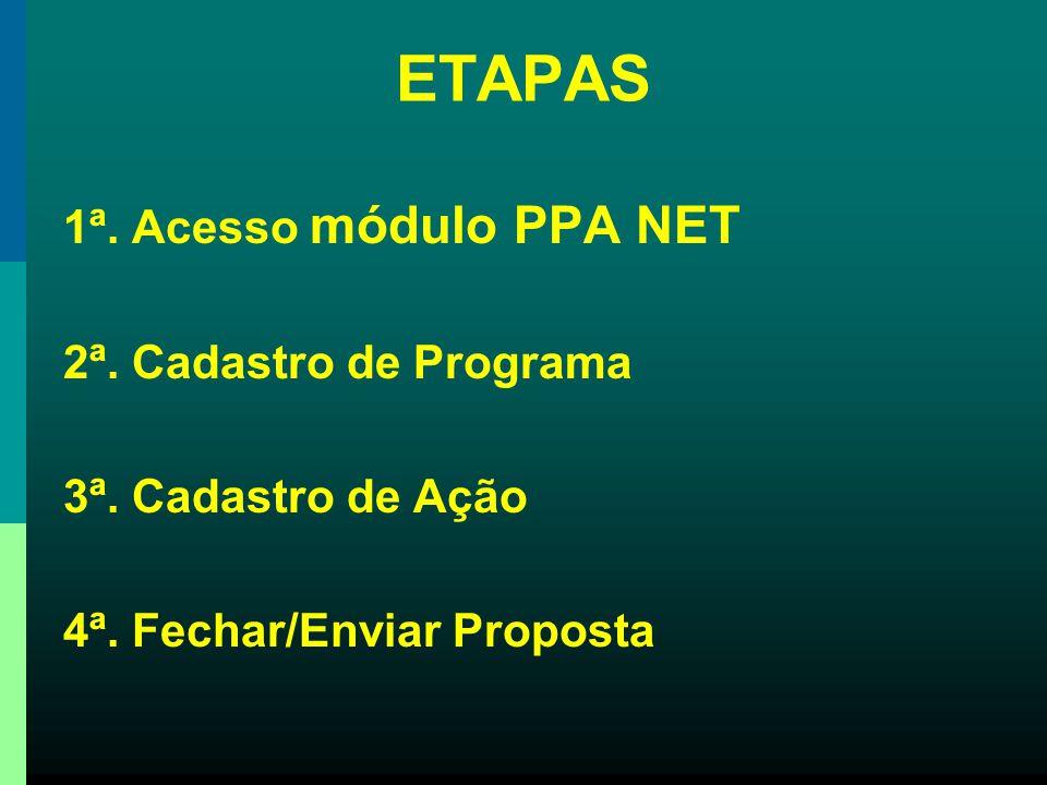 1º passo 2º passo 2ª. ETAPA - Cadastro de Programa