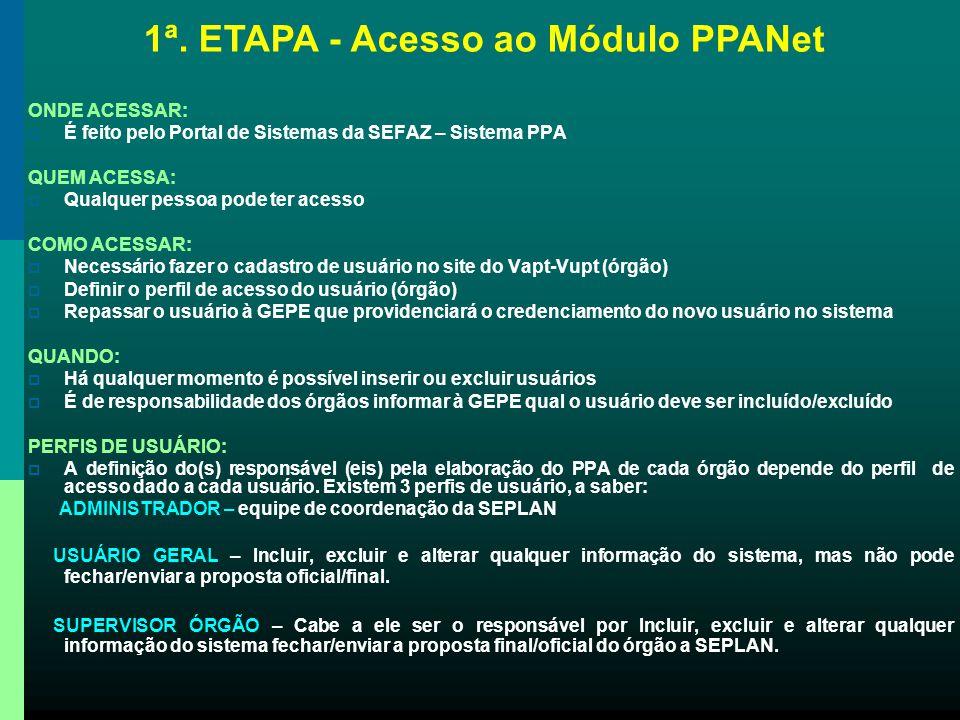 2ª. ETAPA - Justificativa da Inclusão do Programa