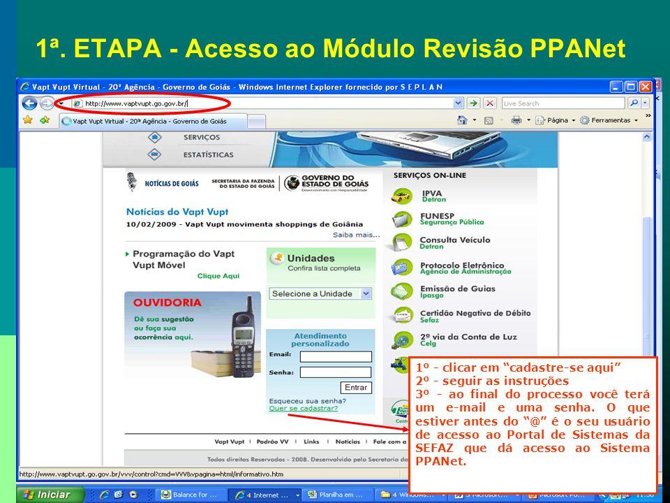 1ª. ETAPA Acesso ao Módulo de Revisão do PPANet
