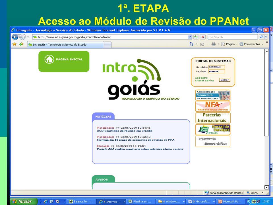 2ª. ETAPA - Alteração de Programa – Apoio Administrativo