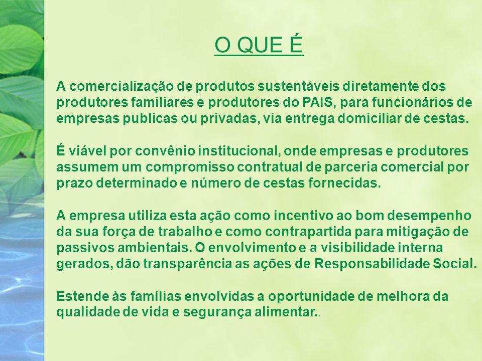 O QUE É A comercialização de produtos sustentáveis diretamente dos produtores familiares e produtores do PAIS, para funcionários de empresas publicas