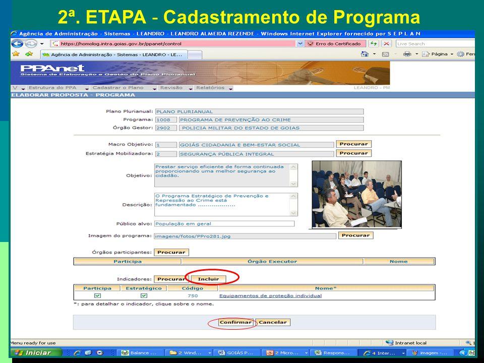 2ª. ETAPA - Cadastramento de Programa