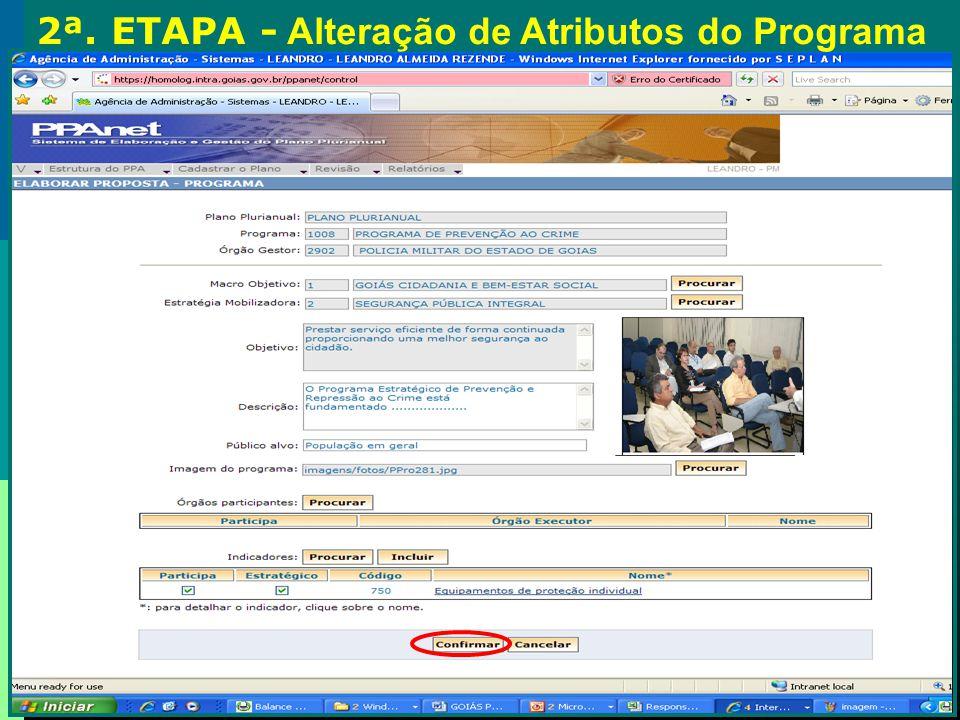 2ª. ETAPA - Alteração de Atributos do Programa