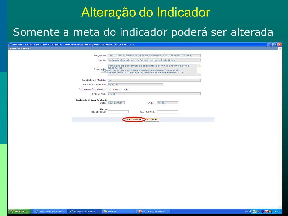 Alteração do Indicador Somente a meta do indicador poderá ser alterada