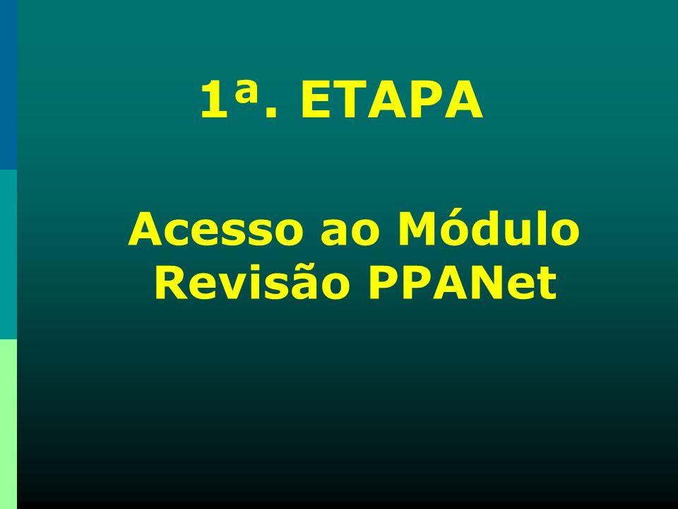 Acesso ao Módulo Revisão PPANet 1ª. ETAPA