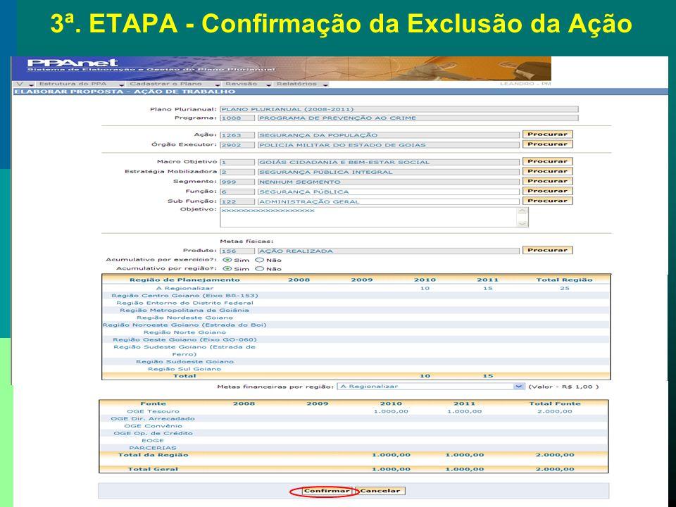 3ª. ETAPA - Confirmação da Exclusão da Ação