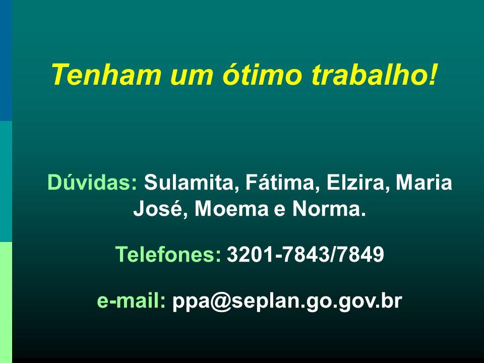Tenham um ótimo trabalho! Dúvidas: Sulamita, Fátima, Elzira, Maria José, Moema e Norma. Telefones: 3201-7843/7849 e-mail: ppa@seplan.go.gov.br