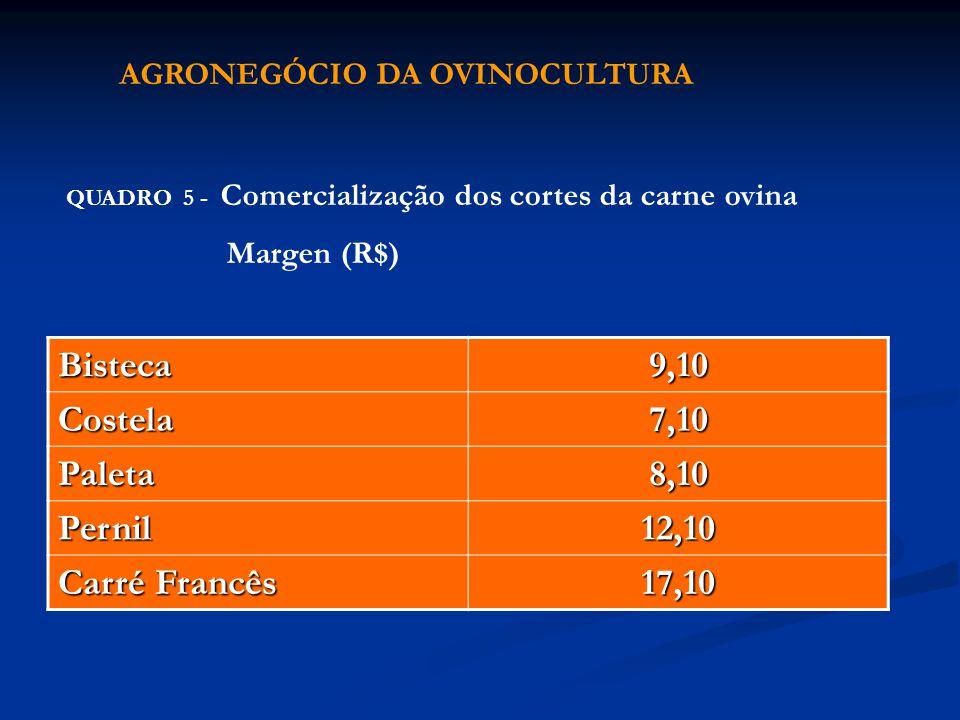QUADRO 5 - Comercialização dos cortes da carne ovina Margen (R$) Bisteca9,10 Costela7,10 Paleta8,10 Pernil12,10 Carré Francês 17,10 AGRONEGÓCIO DA OVI