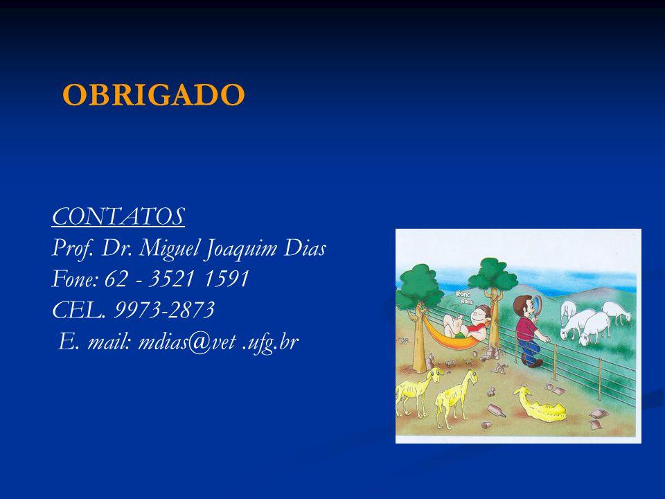 OBRIGADO CONTATOS Prof. Dr. Miguel Joaquim Dias Fone: 62 - 3521 1591 CEL. 9973-2873 E. mail: mdias@vet.ufg.br