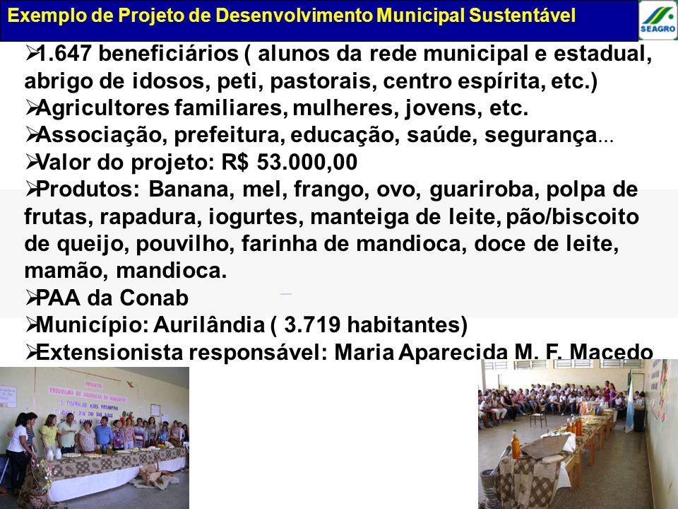 Exemplo de projeto de desenvolvimento municipal 1.647 beneficiários ( alunos da rede municipal e estadual, abrigo de idosos, peti, pastorais, centro e