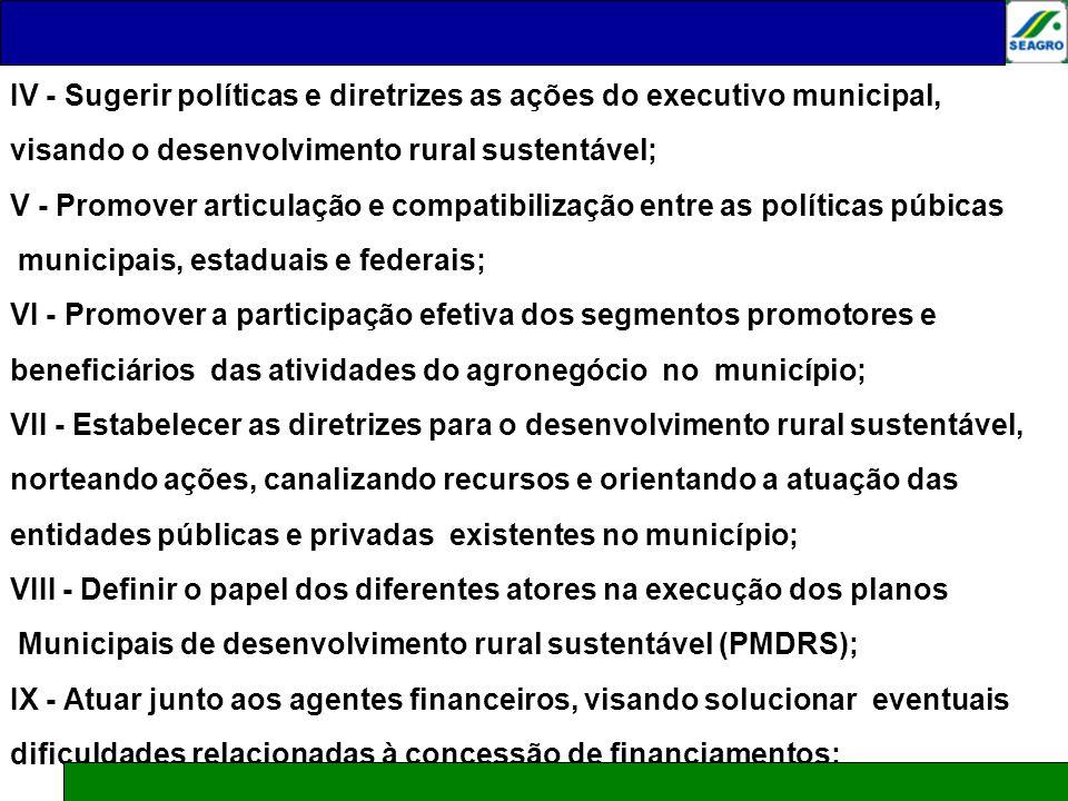 IV - Sugerir políticas e diretrizes as ações do executivo municipal, visando o desenvolvimento rural sustentável; V - Promover articulação e compatibi